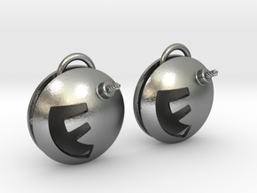 F-Bomb earrings in Natural Silver (Interlocking Parts)