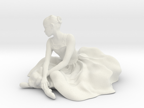 Seated Ballerina in White Natural Versatile Plastic: Small