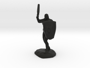 Barbarian with Sword and Bear Shield in Black Premium Versatile Plastic