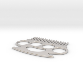 Brass Knuckle Comb/Beard Comb (outward teeth) in Rhodium Plated Brass