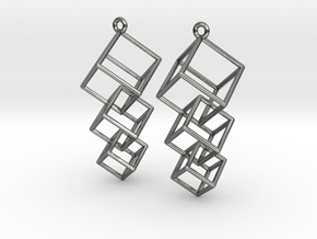 Dangling Cubes Earrings in Polished Silver (Interlocking Parts)