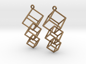 Dangling Cubes Earrings in Natural Brass (Interlocking Parts)