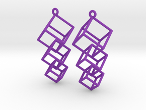 Dangling Cubes Earrings in Purple Processed Versatile Plastic