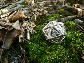 Tengwar Elvish D20 in Polished Nickel Steel