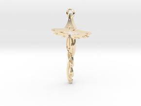 Birdshaped cross in 14k Gold Plated Brass