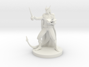 Tiefling Wizard in White Natural Versatile Plastic