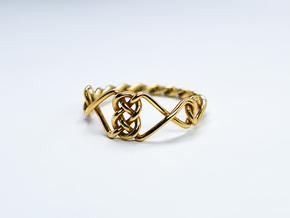 Celtic Ring - Size 8 1/4 in Polished Brass