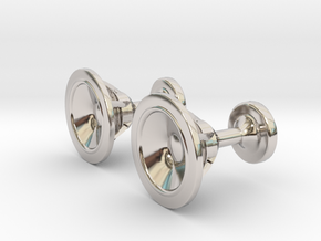Speaker cufflinks in Rhodium Plated Brass