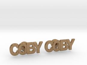 Custom Name Cufflinks - Coby in Natural Brass