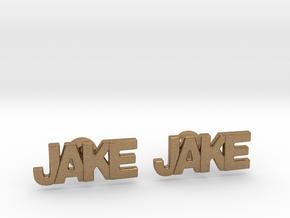 Custom Name Cufflinks - Jake in Natural Brass