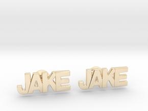Custom Name Cufflinks - Jake in 14k Gold Plated Brass