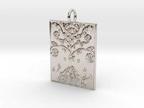Tree of Life Veve Pendant in Rhodium Plated Brass