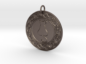Celtic Cat Pendant in Polished Bronzed Silver Steel
