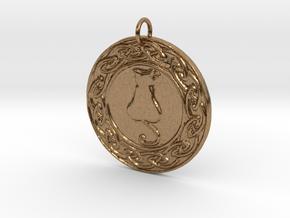 Celtic Cat Pendant in Natural Brass