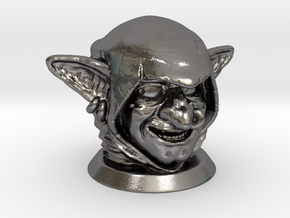Goblin Head, Board Game Piece in Polished Nickel Steel