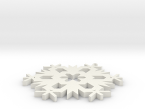 Christmas Snowflake Ornament in White Natural Versatile Plastic
