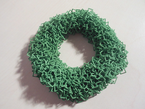 3D square chainmaille donut in Green Strong & Flexible Polished: Medium