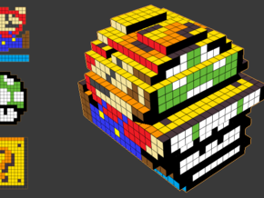 8-bit cutout (Super Mario Bros) in Full Color Sandstone