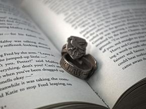 Ravenclaw Ring Size 4 in Polished Bronzed Silver Steel