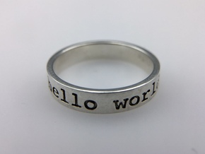 Hello World Ring in Polished Silver: 8 / 56.75