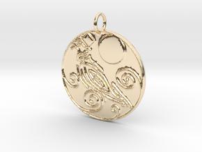 Dapper Pigeon Pendant in 14K Yellow Gold