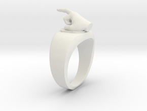 Middle Finger Ring Funny in White Natural Versatile Plastic: 1.5 / 40.5