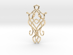 Art Nouveau Pendant in 14k Gold Plated Brass