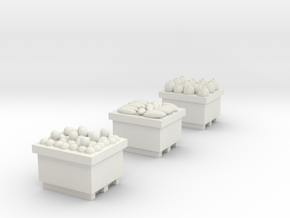 Produce Bins Loaded with Produce HO in White Natural Versatile Plastic