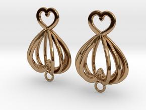Open Heart Earrings in Precious Metals in Polished Brass