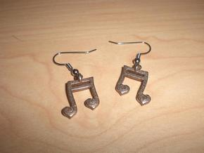 Musical Heart Earrings in Polished Bronzed Silver Steel