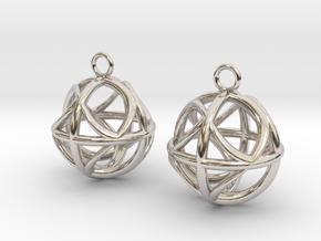 Ball earrings in Rhodium Plated Brass