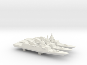 DCNS FREMM-ER Concept (2012 Design) x 3, 1/3000 in White Natural Versatile Plastic
