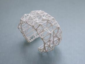 Faceted Cuff     in White Processed Versatile Plastic: Extra Small
