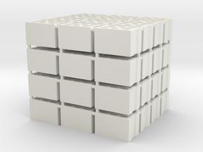 64 Hohlblocksteine (Cinder Blocks) (1 : 45) in White Natural Versatile Plastic