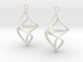 Twister earrings in White Premium Versatile Plastic