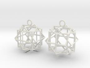 Cube square earrings in White Premium Versatile Plastic