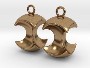 Apple earrings in Natural Brass