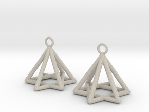 Pyramid triangle earrings type 13 in Natural Sandstone