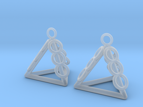 Pyramid triangle earrings serie 3 type 1 in Smooth Fine Detail Plastic