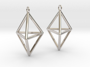 Pyramid triangle earrings type 3 in Platinum