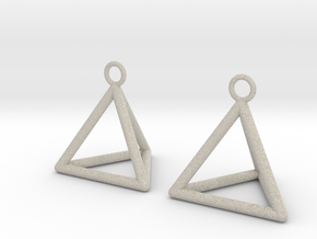 Pyramid triangle earrings in Natural Sandstone