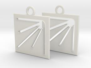 square sun hole earrings in White Natural Versatile Plastic
