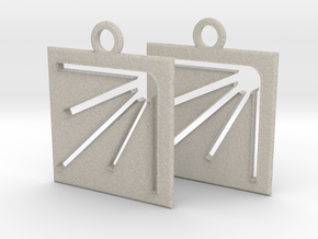 square sun hole earrings in Natural Sandstone