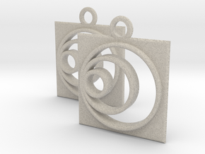 square circle spiral earrings in Natural Sandstone