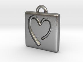 heartPendant in Natural Silver