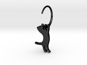 hanging cat earring small in Matte Black Steel