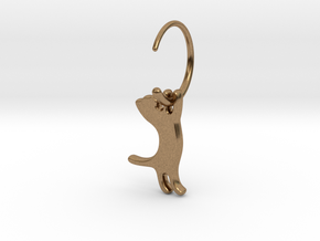 hanging cat earring small in Natural Brass