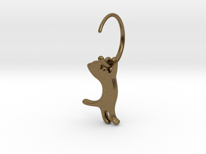 hanging cat earring small in Natural Bronze