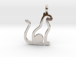 Cat pendant in Platinum: Small