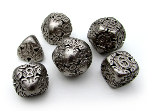 Art Nouveau Dice Set in Polished Nickel Steel